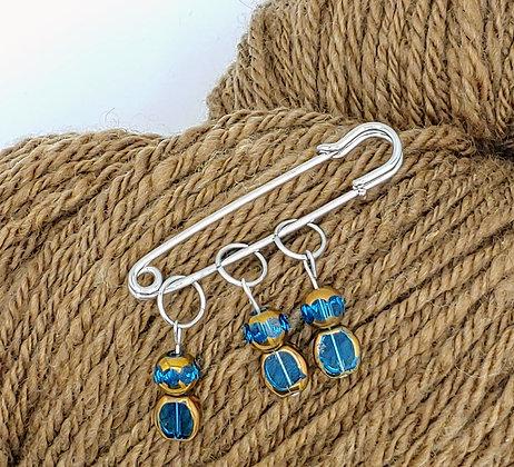 Set of 3 Blue & Copper Stitch Markers