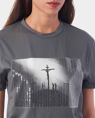 Jesus T-Shirt Cross Grey Crucifixion of Christ