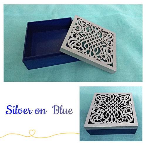 Silver on Blue chocolate box