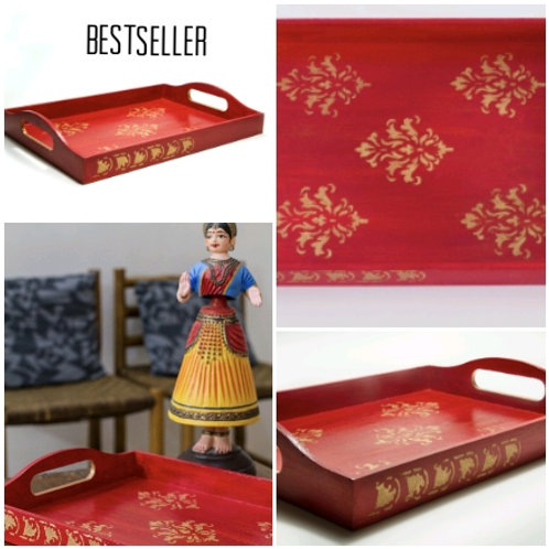 Ethnic red tray