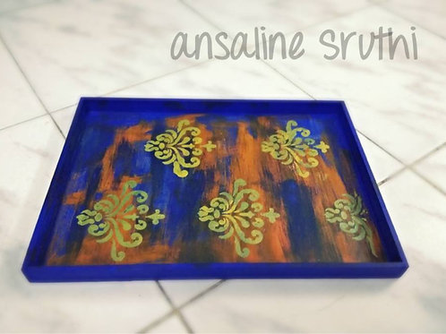Ethnic blue serving tray