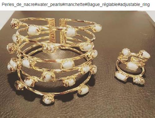 Perles naturelles manchette+bague AGNES