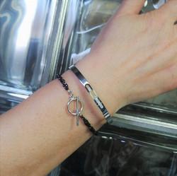bracelet double hématite+ jonc strass acier