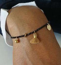 Bracelet fin Pyrite et charms