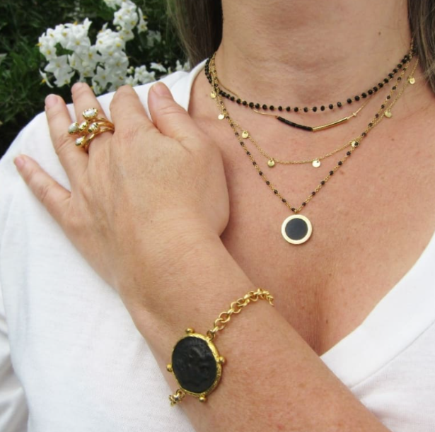 Bracelet ALYA noir, chaîne