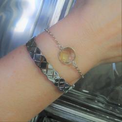 Bracelet rigide acier + bracelet av. pierre quartz fumé