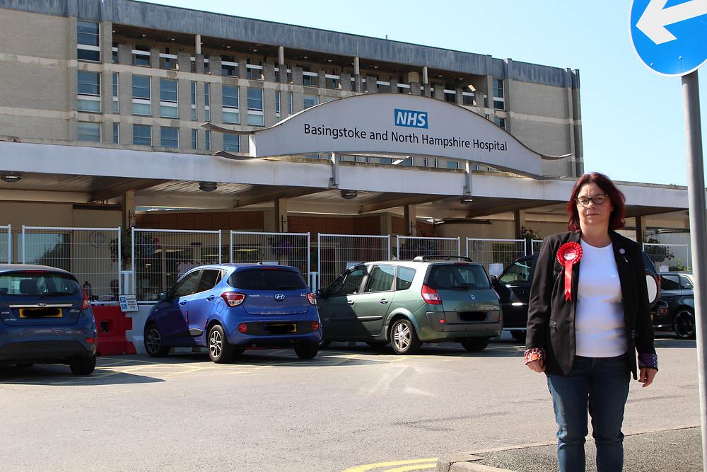 Kerena Marchant standing outside Basingstoke and North Hampshire Hospital