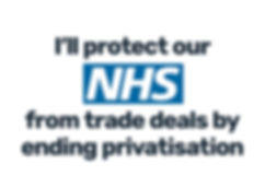NHS logo, I'll protect the NHS from tade deal by ending privatisation
