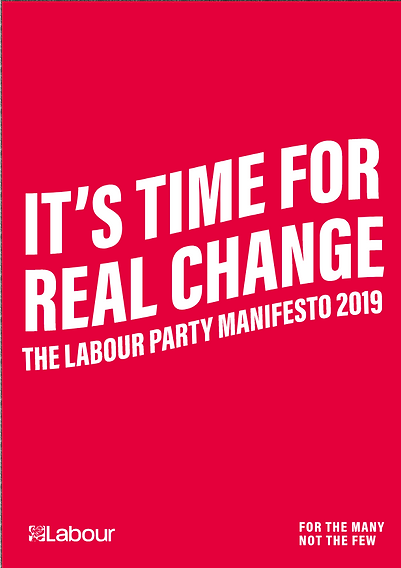 Front cover of the 2019 Labour Manifesto