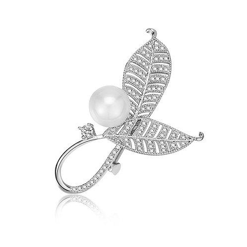 Pearl and Leaf Brooch