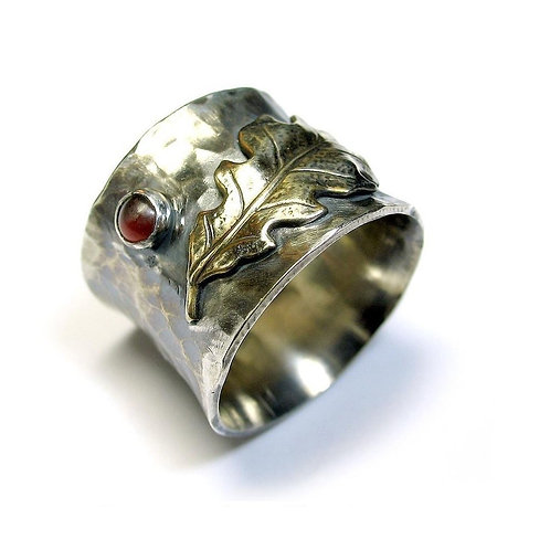 Oak Leaf Hammered Ring