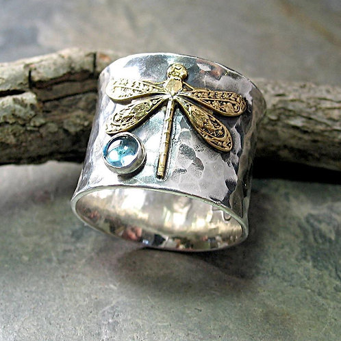 Dragon Fly Hammered Ring
