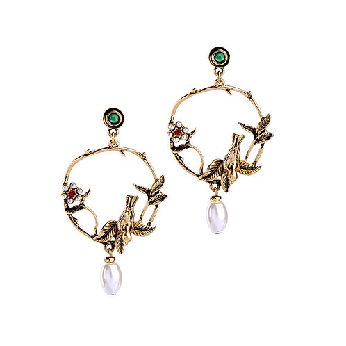 Bird and Pearl Drop Earrings