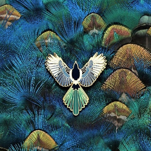 Eurasian Magpie Brooch