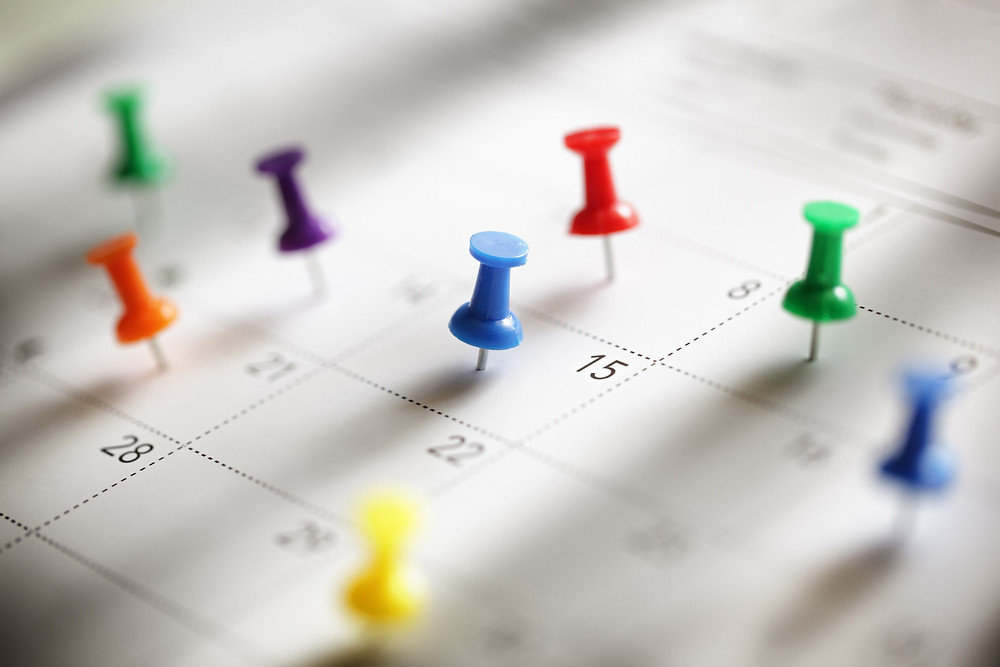 calendar with dates marked by various thumbtacks