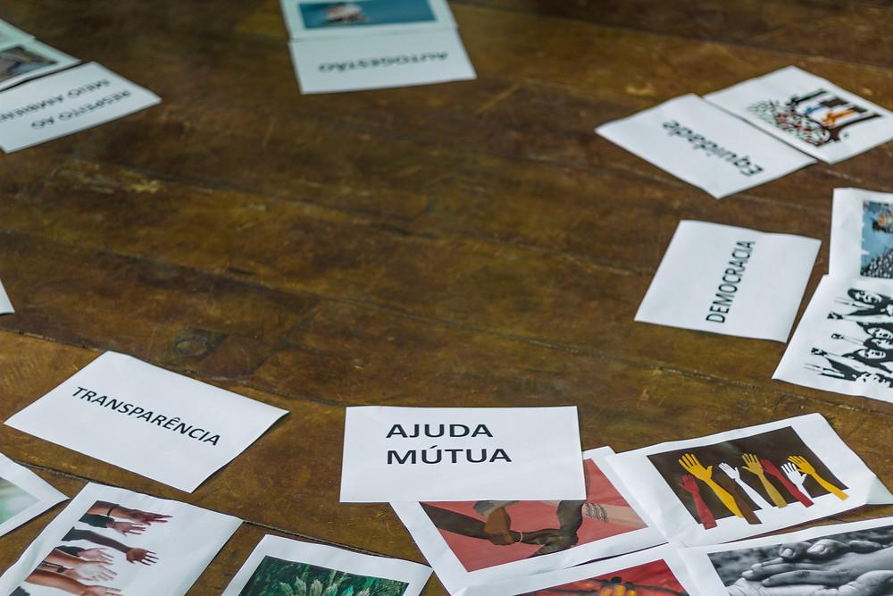 folhas com imagens e palavras sobre uma mesa