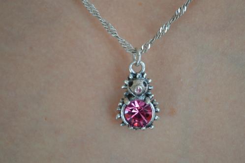 Lovely Hedgehog Pink Crystal Pendant Necklace