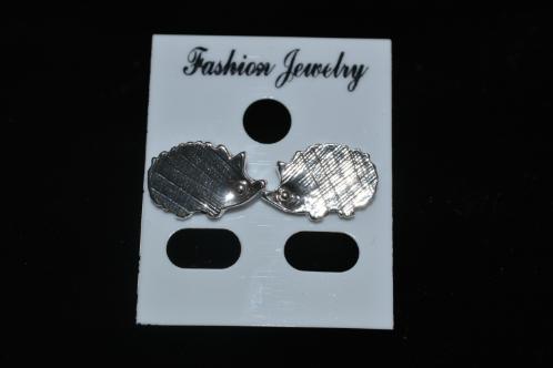 Cute Silver Hedgehog Stud Earrings