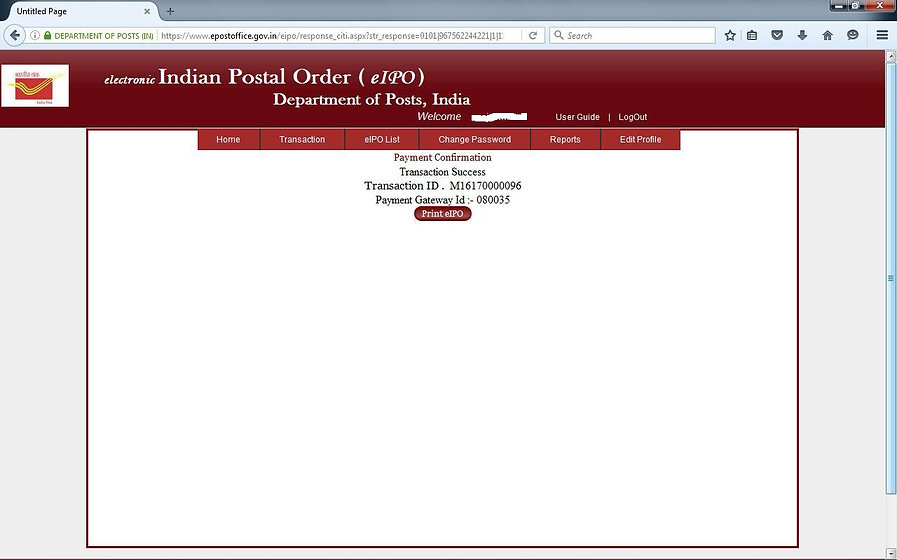 How to get Indian Postal Order Online - 9
