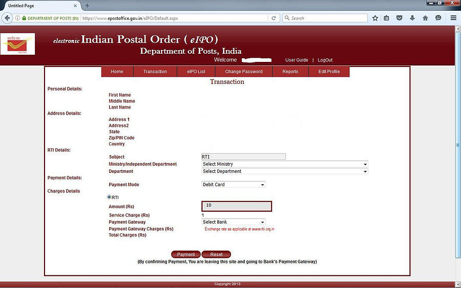 How to get Indian Postal Order Online - 6