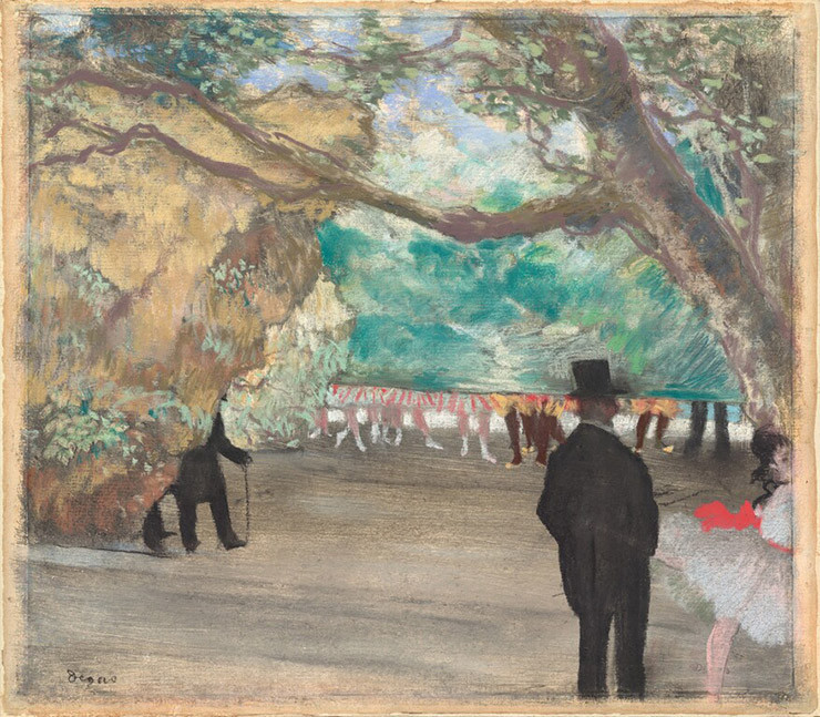 Edgar Degas, The Curtain, c. 1880, pastel over charcoal and monotype on laid paper mounted on board, sheet: 29 x 33.3 cm (11 7/16 x 13 1/8 in.), National Gallery of Art, Washington, Collection of Mr. and Mrs. Paul Mellon