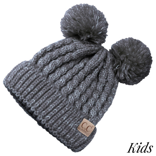 Kids Black C.C Beanie with Two Poms 6ec69c489dd