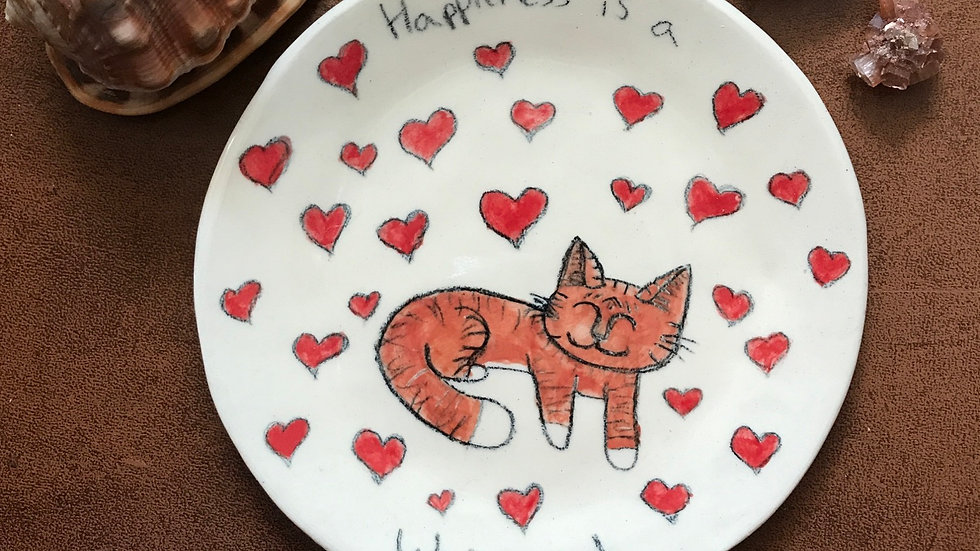 Happiness is a warm cat plate