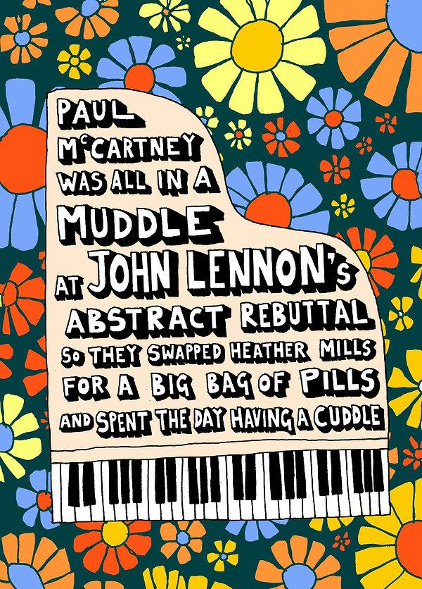 Angry Dan | Lunchtime Limerick | Artist | Illustration | Poem | Paul McCartney | John Lennon | Heather Mills