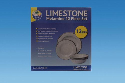 'Limestone' Premium 12 Piece Melamine Dining Set