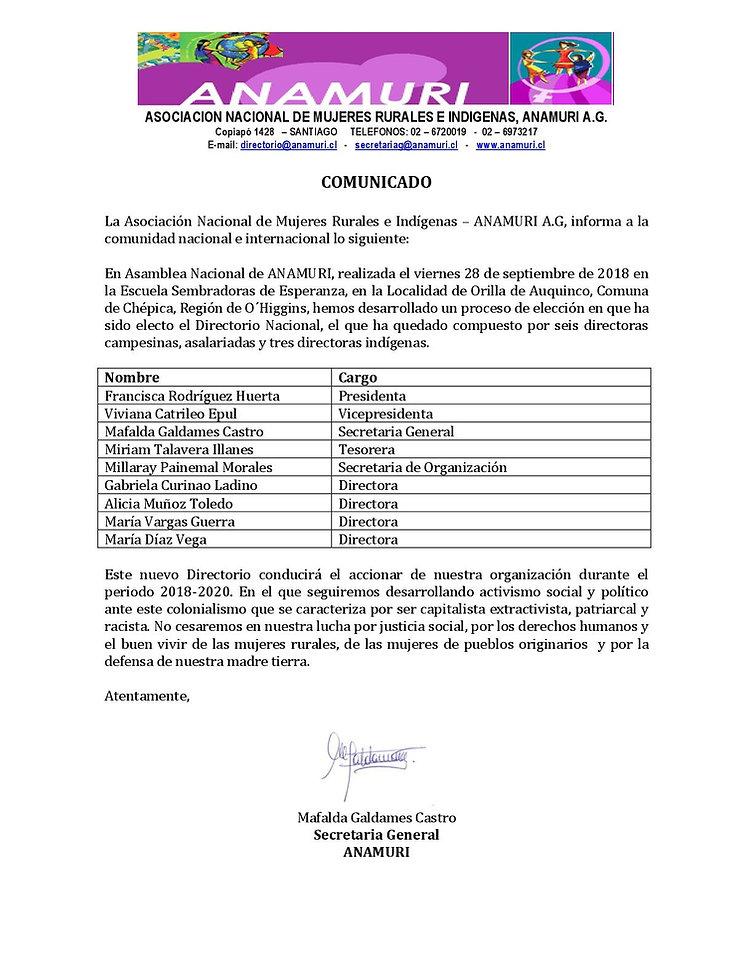 Comunicado Nuevo Directorio Nacional ANA