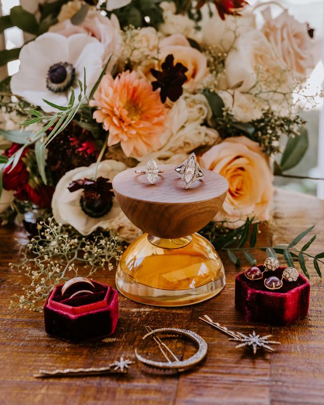 diamond wedding ring engagement bright floral bouquet celestial bridal hair wedding accessories
