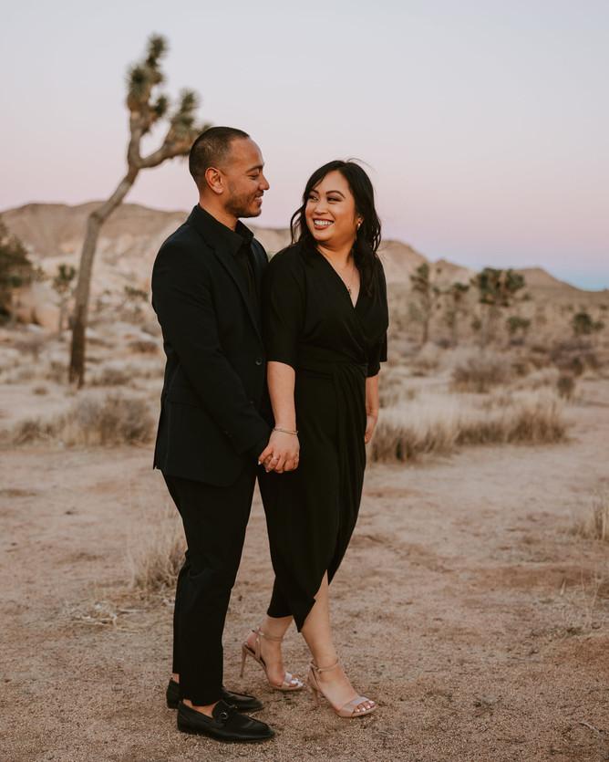 Joshua Tree desert national park engagement couple session black suit dress