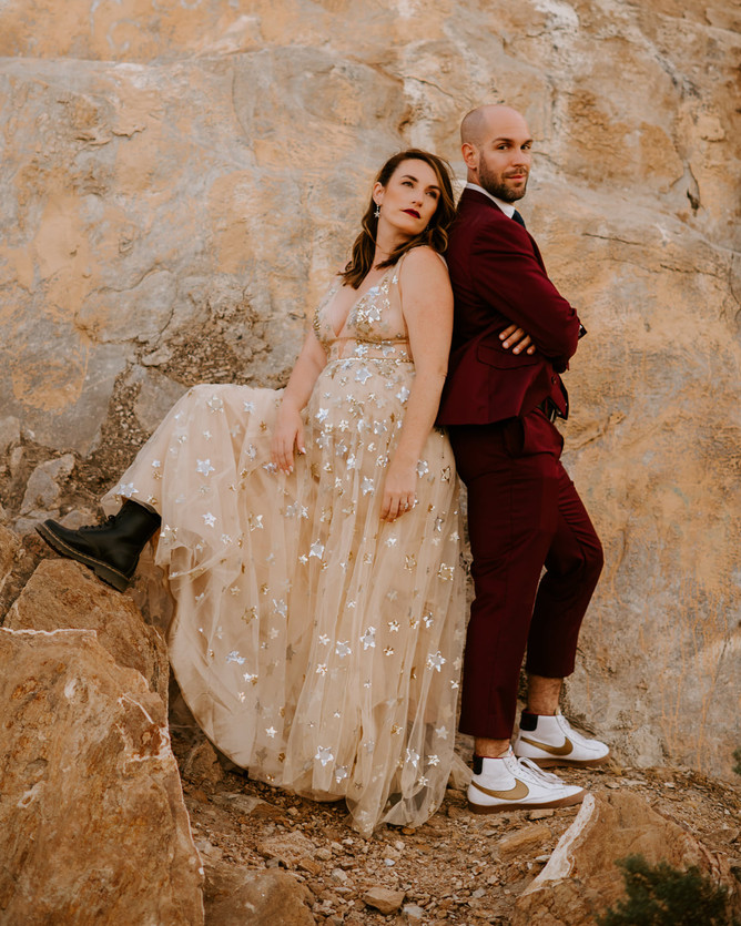 Palm Springs rockstar bride groom glitter star celestial gown maroon suit nike shoes doc martens