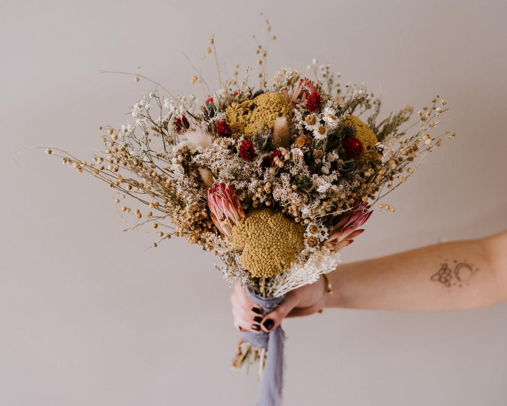 Dried floral bouquet desert joshua tree boho tattoo bride wedding