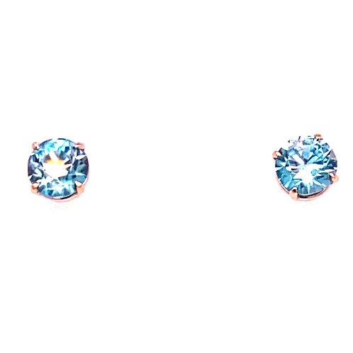 14kt White Gold Round Blue Zircon Stud Earrings
