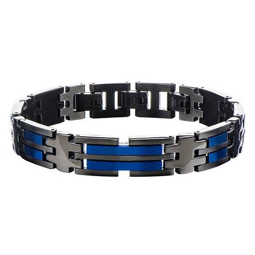 Stainless Steel Black/Blue Bracelet