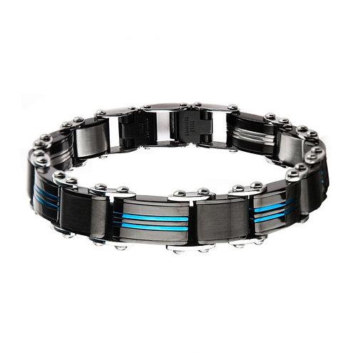 Stainless Steel Black/Blue Reversible Bracelet