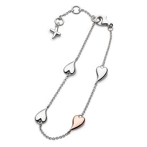 Sterling Silver Desire Kiss Blush Heart Station Bracelet