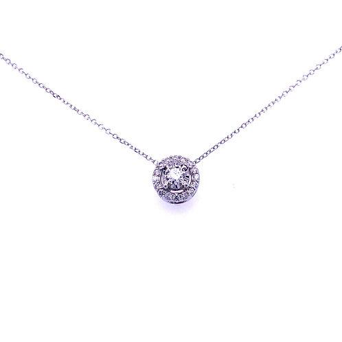 14kt White Gold Halo Diamond Pendant