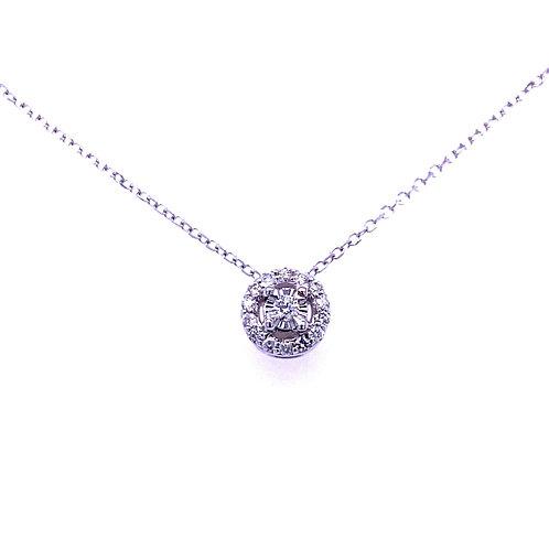 14kt White Gold Diamond Halo Pendant