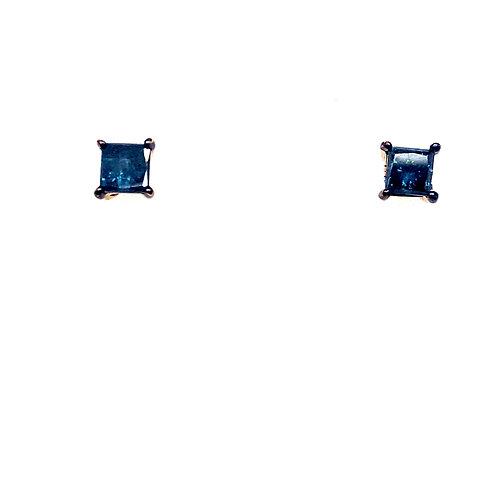 Estate 14kt Yellow Gold Blue Diamond Stud Earrings