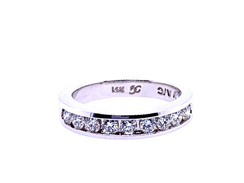 14kt White Gold Channel Wedding Band