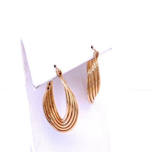 Estate 14kt Yellow Gold Twist Hoop Earrings