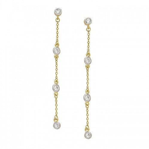 Sterling Silver Cubic Zirconia Chain Dangle Earrings