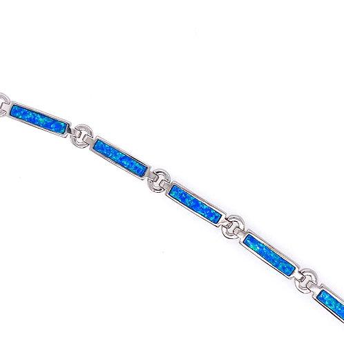 Sterling Silver Lab Created Opal Bracelet