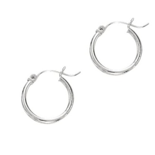 14kt White Gold Classic Hoop Earrings