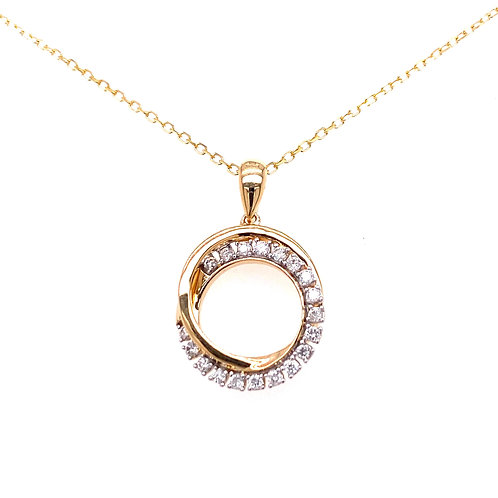 10kt Yellow Gold Diamond Circles Pendant