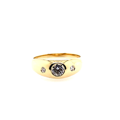 Estate 14kt Yellow Gold Gents 3 Diamond Ring