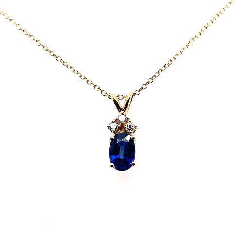 14kt Yellow Gold Sapphire And Diamond Pendant