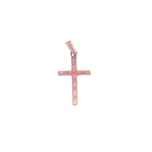 Estate 14kt Yellow Gold Cross With Wavy Lines